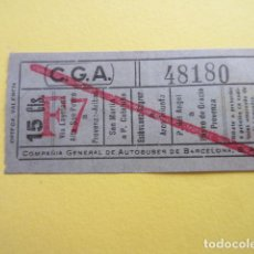 Collectionnisme Billets de transport: COLTR1 - ANTIGUO BILLETE COMPAÑIA GENERAL AUTOBUSES DE BARCELONA CGA IDEAL COMENZAR COLECCION PAPEL. Lote 221358711