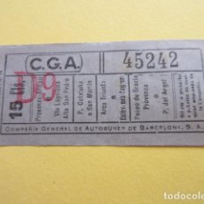 Collectionnisme Billets de transport: COLTR1 - ANTIGUO BILLETE COMPAÑIA GENERAL AUTOBUSES DE BARCELONA CGA IDEAL COMENZAR COLECCION PAPEL. Lote 221358745