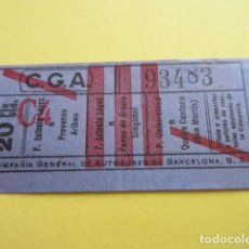 Collectionnisme Billets de transport: COLTR1 - ANTIGUO BILLETE COMPAÑIA GENERAL AUTOBUSES DE BARCELONA CGA IDEAL COMENZAR COLECCION PAPEL. Lote 221358831