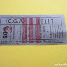 Collectionnisme Billets de transport: COLTR1 - ANTIGUO BILLETE COMPAÑIA GENERAL AUTOBUSES DE BARCELONA CGA IDEAL COMENZAR COLECCION PAPEL. Lote 221358858