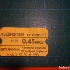 Coleccionismo Billetes de transporte: TICKET ASCENSORES SOLOKOETXE - ITURRIBIDE CASCO VIEJO - BILBAO - BILLETE PERSONAL. Lote 221517790