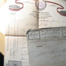 Coleccionismo Billetes de transporte: LOTE FACTURA BILLETE BARCO AUGUSTUS DE BUENOS AIRES A BARCELONA . ITALMAR 1935. Lote 221678788