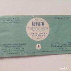 Coleccionismo Billetes de transporte: IBERIA - BILLETE DE PASAJE Y TALON EQUIPAJE AÑOS 50 // MADRID SEVILLA. Lote 222826451