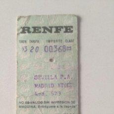 Coleccionismo Billetes de transporte: RENFE - BILLETE SEVILLA P.A. / MADRID ATOCHA - 10 AGOSTO 1970. Lote 222827185