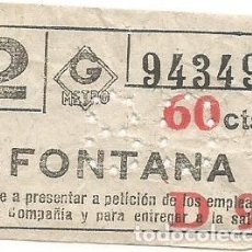 Coleccionismo Billetes de transporte: BILLETE METRO G 2 D9 FONTANA 60 CTS CAPICUA Nº 943. Lote 223804113