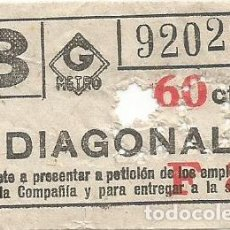 Coleccionismo Billetes de transporte: BILLETE METRO G 3 F8 DIAGONAL 60 CTS CAPICUA Nº 029. Lote 223804465