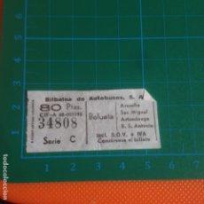 Coleccionismo Billetes de transporte: TICKET BUS BILBAINA DE AUTOBUSES - BOLUETA SERIE C - BILLETE AUTOBUS BIZKAIA 34808. Lote 223938773