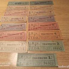 Coleccionismo Billetes de transporte: AW8. TRANVÍAS DE BARCELONA. TRAYECTOS. Lote 223993308
