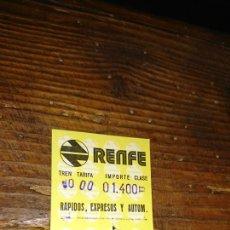 Coleccionismo Billetes de transporte: VIEJO BILLETE DE TREN, RENFE, IDEAL COLECCIONISTA. Lote 224257307