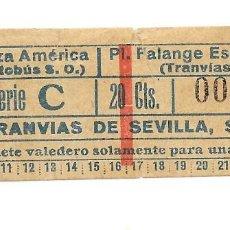 Coleccionismo Billetes de transporte: BILLETE DE LOS TRANVIAS DE SEVILLA COMBINADO LINEA 3 -II VALEDERO SOLO PARA EL DIA DE LA FECHA. Lote 224351195