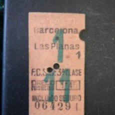 Coleccionismo Billetes de transporte: ANTIGUO BILLETE DE TREN BARCELONA LAS PLANAS-3ª CLASE - AÑO 1949 -. Lote 225271215