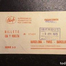 Coleccionismo Billetes de transporte: BILLETE RENFE FRANCEBÚS - IBERBÚS, BARCELONA-PARIS-BARCELONA, 1973. Lote 225323640