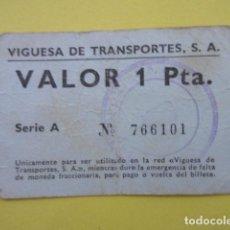 Collezionismo Biglietti di trasporto: VALE MONEDA 1 PESETA VIGO VIGUESA DE TRANSPORTE. Lote 225489001