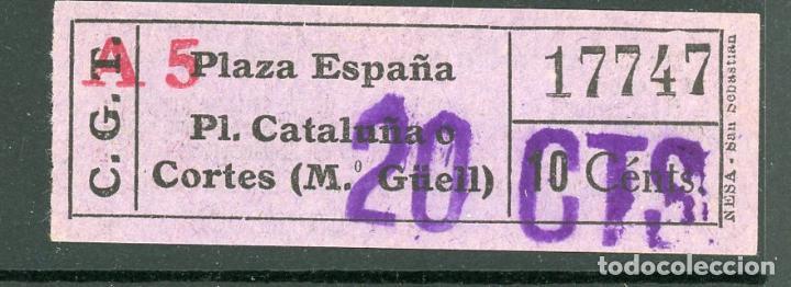 F06/8 TIPO D- BILLETE DE COMPAÑIA GENERAL DE TRANVIAS - CGT - NESA (Coleccionismo - Billetes de Transporte)