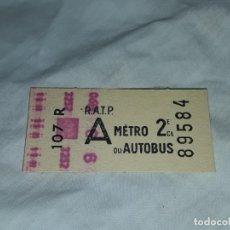 Coleccionismo Billetes de transporte: ANTIGUO BILLETE DE R.A.T. P. METRO OU AUTOBUS 2ª CLASE PARÍS FRANCIA. Lote 226247330