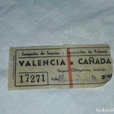 Coleccionismo Billetes de transporte: ANTIGUO BILLETE COMPAÑÍA DE TRANVÍA Y FERROCARRILES DE VALENCIA 3.40 PESETAS. Lote 226247915