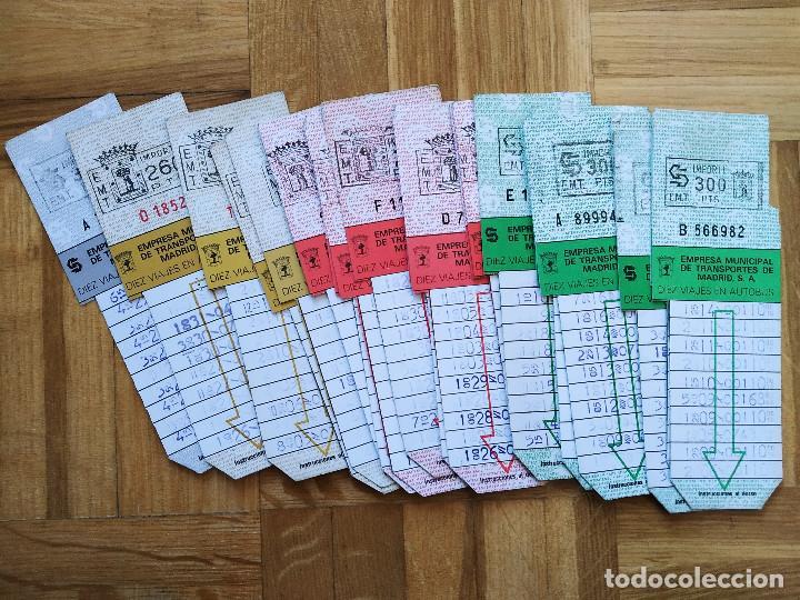 LOTE 20 BILLETES AUTOBUS. BUS. EMPRESA MUNICIPAL DE TRANSPORTES MADRID. TODOS DIFERENTES. VER FOTOS (Coleccionismo - Billetes de Transporte)