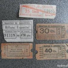 Coleccionismo Billetes de transporte: LOTE 5 BILLETES ANTIGUOS TRANVÍAS DE ZARAGOZA - DIFERENTES VALORES 25 - 30 - 40 CTS, 4,50 PTAS Y SIN. Lote 228404315