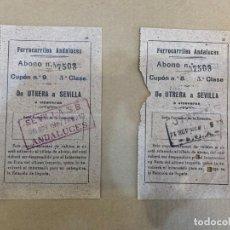 Coleccionismo Billetes de transporte: GUERRA CIVIL / BILLETES FERROCARRILES ANDALUCES / DE UTRERA A SEVILLA / 3ª CLASE / 1937. Lote 229179435