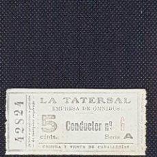 Coleccionismo Billetes de transporte: BILLETE CAPICUA DE 5 CM DE LA TATERSAL PRINCIPIOS SIGLO XX. Lote 233189535