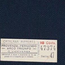Coleccionismo Billetes de transporte: CAPICUA CATALANA RIPPERTS FINALES SIGLO XIX PRINCIPIOS SIGLO XX - MUY DIFICIL. Lote 233189905