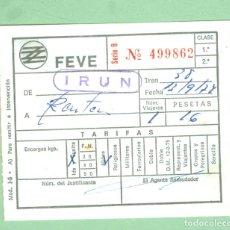Colecionismos Bilhetes de Transporte: + FEVE IRUN A RENTERIA ANTIGUO BILLETE DE TRANSPORTE FERROCARRIL. Lote 233568675