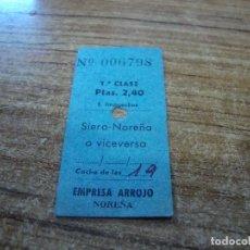 Coleccionismo Billetes de transporte: BILLETE TRANSPORTE EMPRESA ARROJO DE NOREÑA 1 CLASE SIERO NOREÑA O VICEVERSA. Lote 233959380