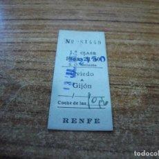 Coleccionismo Billetes de transporte: BILLETE TRANSPORTE RENFE 1 CLASE OVIEDO GIJON. Lote 233959685