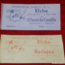 Coleccionismo Billetes de transporte: 2 BILLETES TRANSPORTES DE AUTOBUS, AÑOS 50. Lote 234135805