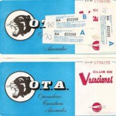 Coleccionismo Billetes de transporte: CLUB DE VACACIONES - DOS BILLETES DE AVION - AÑO 1976. Lote 234461315