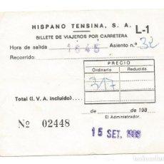 Coleccionismo Billetes de transporte: BILLETE TRANSPORTE HISPANO TENSINA S.A. RECORRIDO VIAJEROS POR CARRETERA. Lote 234467520
