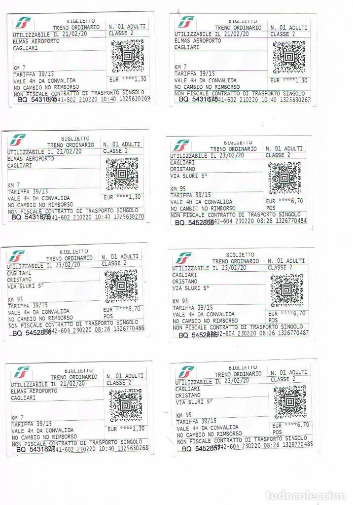 LOTE 8 BILLETES TRANSPORTE TREN CAGLIARI ORISTANO (Coleccionismo - Billetes de Transporte)