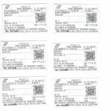 Coleccionismo Billetes de transporte: LOTE 8 BILLETES TRANSPORTE TREN CAGLIARI ORISTANO. Lote 234733665
