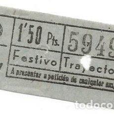 Coleccionismo Billetes de transporte: BILLETE T B TRANVIA TB A 47 FESTIVO 1'50 PTS TRAYECTO 2º CAPICUA Nº 594. Lote 235307585