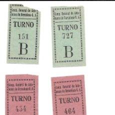 Coleccionismo Billetes de transporte: COMPAÑIA GENERAL DE AUTOBUSES DE BARCELONA S.A. 4 BILLETES DE TURNO DE SUBIDA LEER NOTA. Lote 235311915