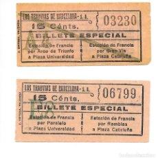 Coleccionismo Billetes de transporte: 2 BILLETE LOS TRANVIAS DE BARCELONA SERVICIO ESPECIAL UNO ES DE LA IDA Y EL OTRO DE LA VUELTA. Lote 235325215