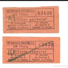 Coleccionismo Billetes de transporte: 2 BILLETE LOS TRANVIAS DE BARCELONA SERVICIO ESPECIAL UNO ES DE LA IDA Y EL OTRO DE LA VUELTA. Lote 235325305