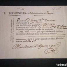 Coleccionismo Billetes de transporte: DILIGENCIAS ADMINISTRACIÓN DE IRÚN. AÑO 1832. Lote 235693855