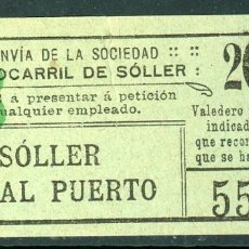 Collezionismo Biglietti di trasporto: GSC 558 - BILLETE DEL FERROCARRIL DE SOLLER. Lote 236862110