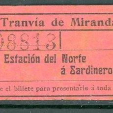 Collezionismo Biglietti di trasporto: BILLETE DE TRANVIAS DE MIRANDA. Lote 236862925