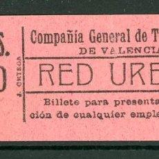 Collezionismo Biglietti di trasporto: GSC 012 VALENCIA - BILLETE DE TRANVIAS DE VALENCIA. Lote 236863185