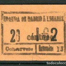 Collezionismo Biglietti di trasporto: BILLETE DE TRANVIAS DE MADRID A LEGANES. Lote 236863390