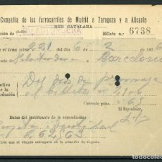 Coleccionismo Billetes de transporte: BILLETE DE LA COMP. DE LOS FERROCARRILES DE MADRID A ZARAGOZA Y A ALICANTE // RED CATALAN // 1926. Lote 236864145