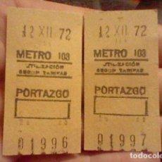 Coleccionismo Billetes de transporte: METRO 1972 CONSECUTIVOS PAREJA BILLETES ORIGINALES 12 XII 01996 Y 01997 MADRID PORTAZGO. Lote 237377045