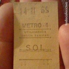 Coleccionismo Billetes de transporte: METRO 1969 BILLETE ORIGINAL 14 FEBRERO 30482 MADRID SOL ESTACION. Lote 237379950