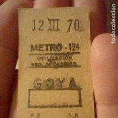 Coleccionismo Billetes de transporte: METRO 1970 BILLETE ORIGINAL 12 MARZO 62871 MADRID GOYA ESTACION. Lote 237381725