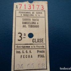 Coleccionismo Billetes de transporte: BILLETE FERROCARRIL GENERALITAT SARRIA-BARCELONA 3º CLASE. Lote 237520260