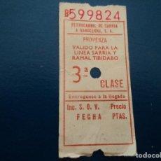 Coleccionismo Billetes de transporte: BILLETE FERROCARRIL GENERALITAT -BARCELONA - PROVENZA - TIBIDABO 3º CLASE. Lote 237521005