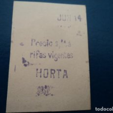 Coleccionismo Billetes de transporte: ANTIGUO BILLETE F.C METROPOLITANO BARCELONA HORTA. Lote 237522725