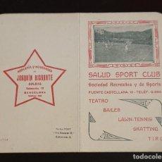 Coleccionismo Billetes de transporte: HORARIO DE TRANVÍAS DE SAN JOSÉ DE LA MONTAÑA - 1917 - SALUD SPORT CLUB. 9,4 X 11,4 CM.. Lote 238709500